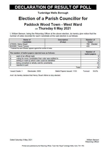 Declaration of Result of Poll
